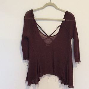 Frayed cheese cloth light weight cross back top